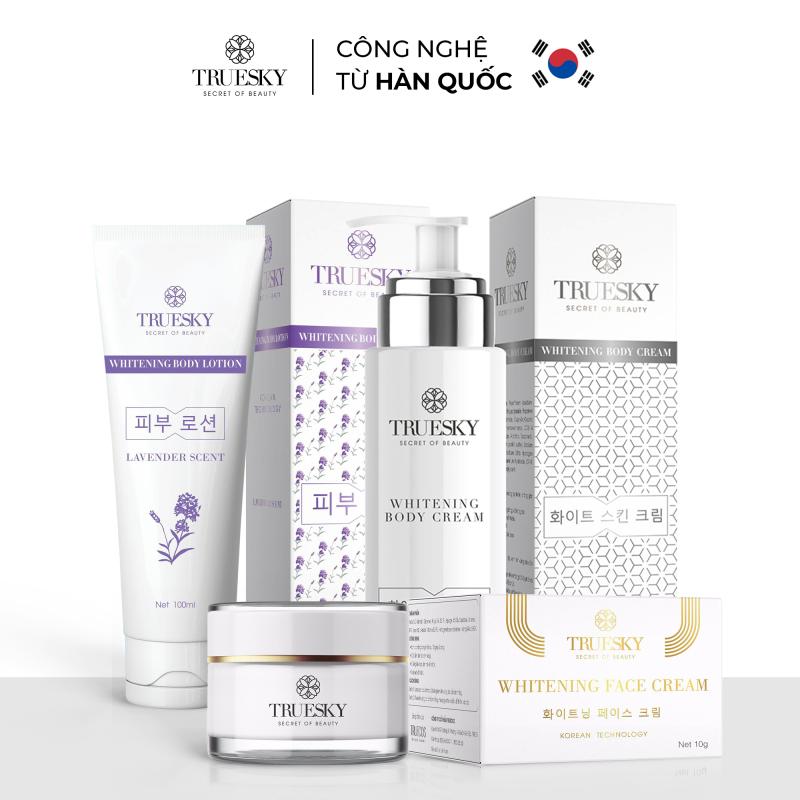 Bộ sản phẩm Truesky VIP05 gồm 1 kem dưỡng trắng da mặt 10g & 1 kem ủ trắng da toàn thân 100ml & 1 kem dưỡng trắng da toàn thân 100ml