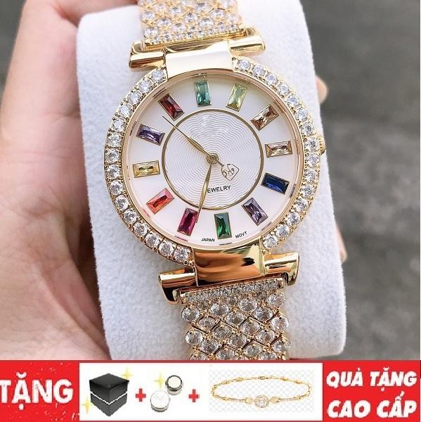 Nơi bán Đồng hồ nữ King mặt đính đá 7 màu dây thép cực đẹp không phai màu chống nước tốt