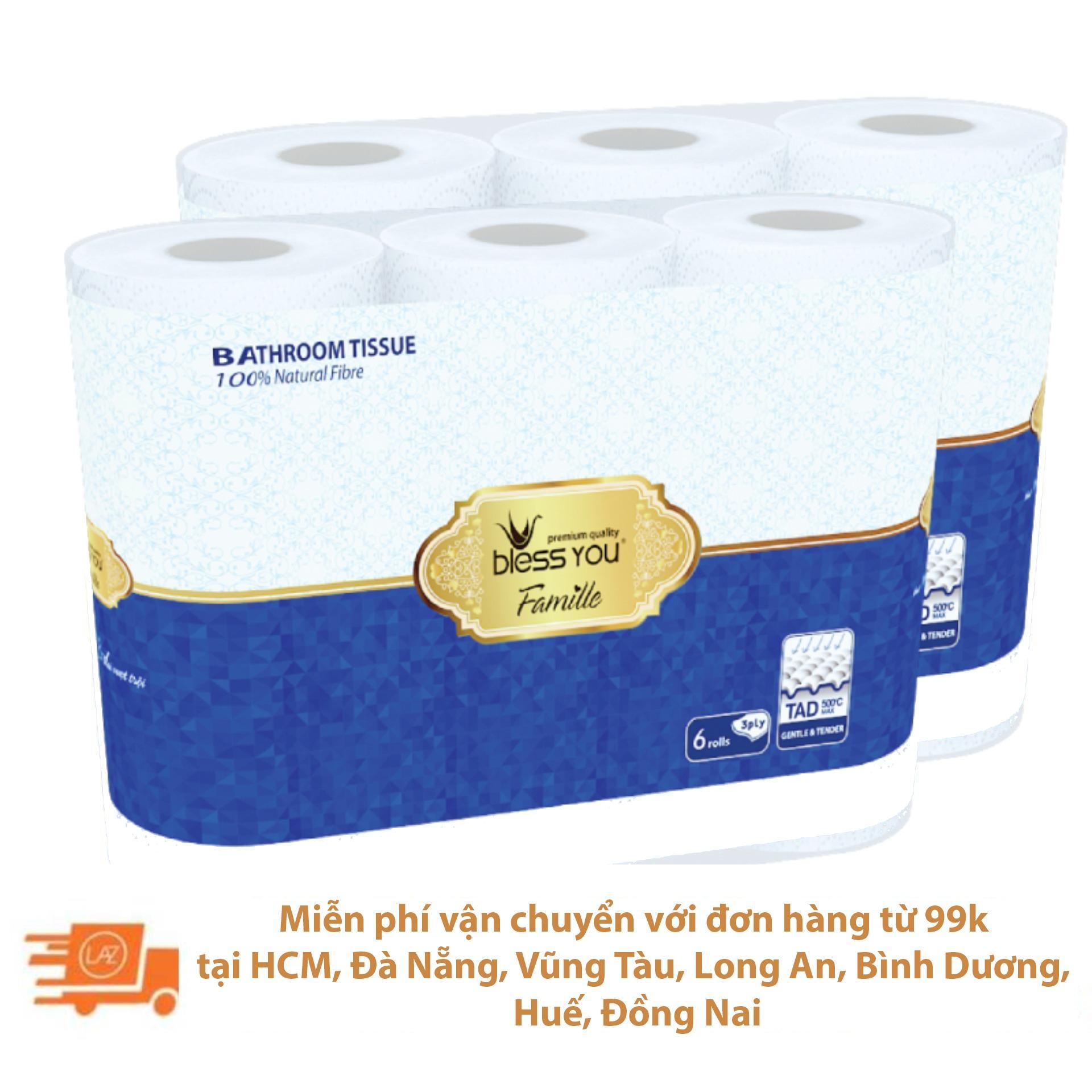 Bộ 2 lốc giấy vệ sinh Bless You Famille 6 cuộn