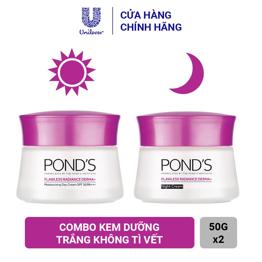 Bộ Sản Phẩm Kem Dưỡng Trắng Da Pond's Flawless Radiance Cao Cấp Ngày Và Đêm 50ml x 2