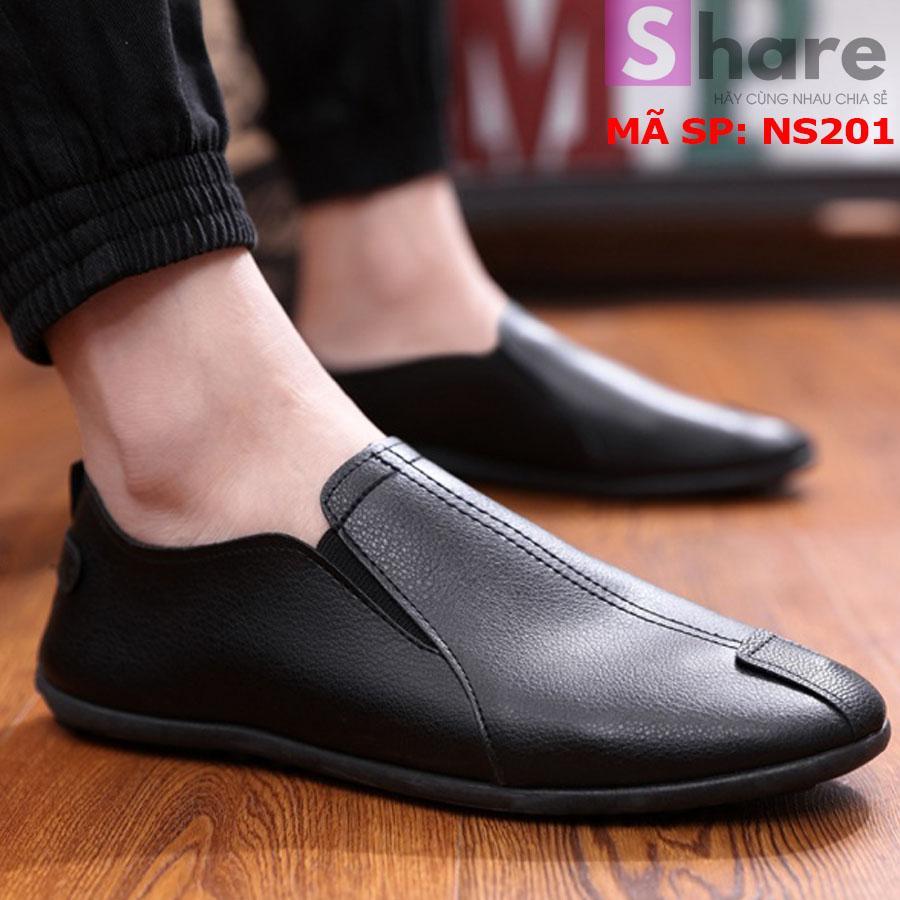 Giày Lười Nam Hàn Quốc Màu Đen Phong Cách NS20011