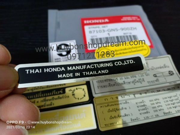 Bộ tem thông số xe Dream Thái