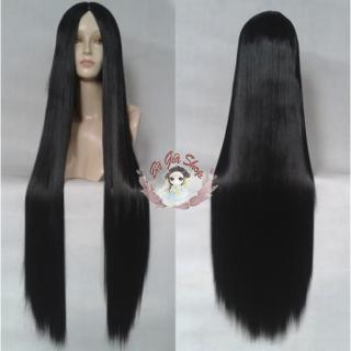 Tóc giả không mái tóc có da đầu 1m đen thumbnail