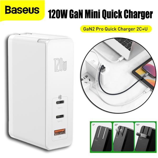 Bộ sạc nhanh đa năng Baseus GaN2 Pro Quick Charger 120W dùng cho Smartphone/ Tablet/ Macbook / Laptop (C+C+A, With C to C Cable, E-mark Chip 100W ( Tặng kèm Cáp 1M Type C)