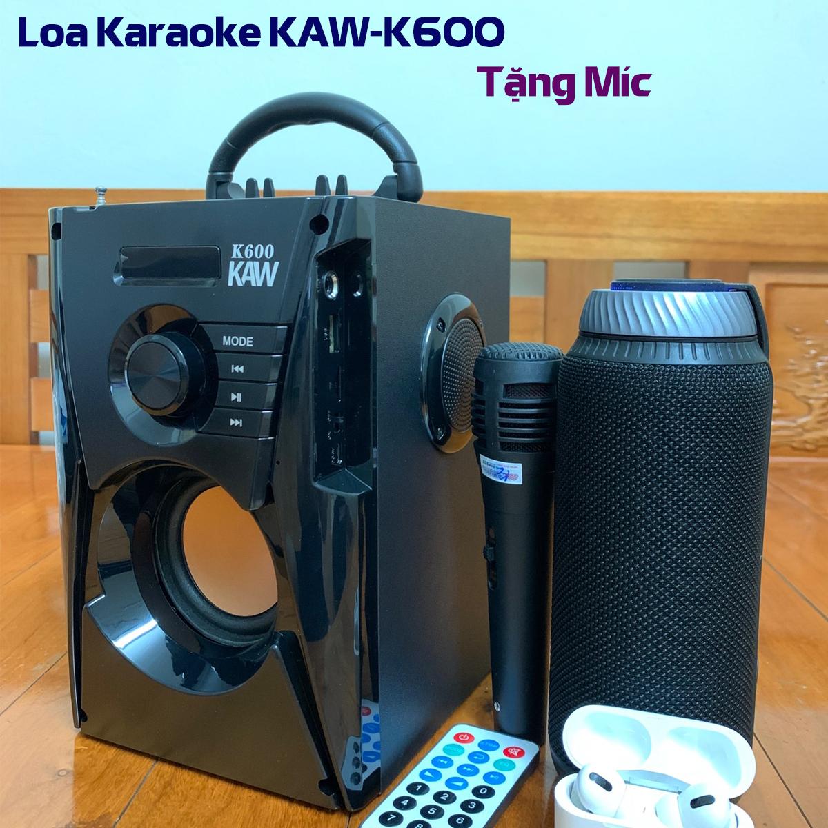 Loa bluetooth bass mạnh, loa bluetooth karaoke mini, loa máy tính bàn, Thương hiệu KAW K500 & K600 Mẫu mới nhất 2021 + Tặng kèm micro và gói bảo hành vàng 1 đồi 1 trong 12 tháng