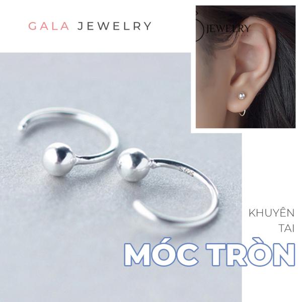 Bông tai bạc Gala Bi Tròn KT08 - khuyên móc bạc 925 cá tính