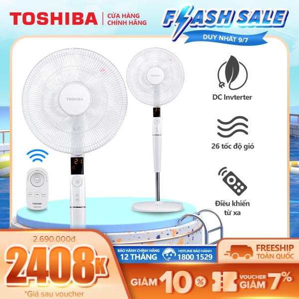 Quạt đứng Toshiba F-LSD30(W)VN - Điều khiển từ xa núm xoay vô cực - 9 cánh - DC inverter tiết kiệm điện 70% - 26 tốc độ gió - Vận hành siêu êm - Màn hình LED hiển thị - Hàng chính hãng, bảo hành 12 tháng, chất lượng Nhật Bản