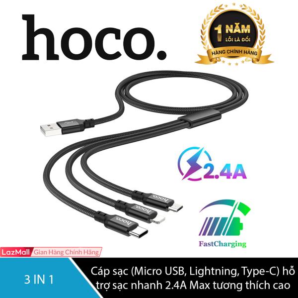 Cáp sạc 3 in 1 Hoco X14 (Micro USB Lightning Type-C) hỗ trợ sạc nhanh 2.4A Max tương thích với tất cả các dòng điện thoại Iphone Huawei Samsung Xiaomi Dài 1m