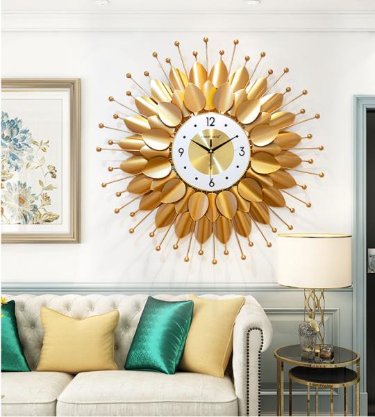 Nơi bán Đồng hồ treo tường trang trí phòng khách hoa mặt trời vàng Lian508 Phong Cách hiện đại
