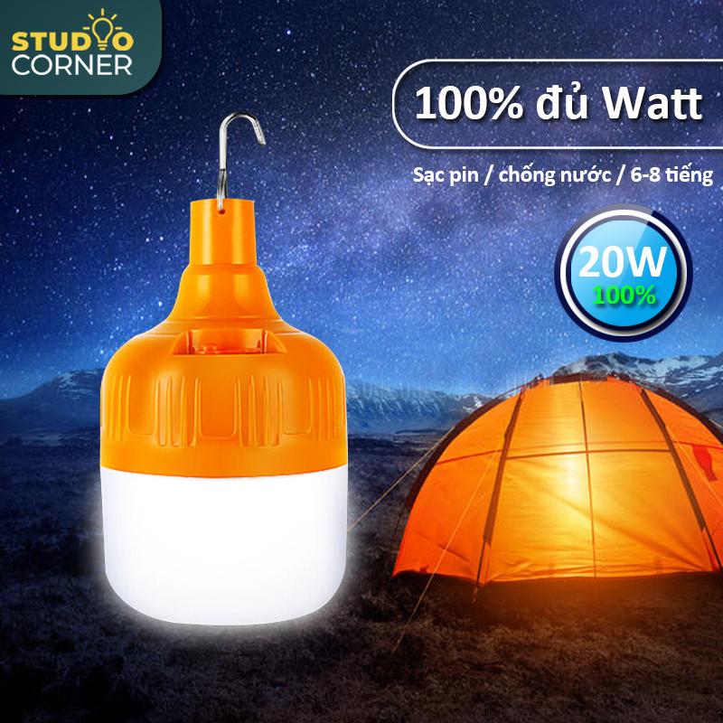 Bóng đèn LED sạc tích điện, đèn led sạc pin ánh sáng trắng, có móc treo kèm theo, bóng đèn gia dụng ánh sáng trắng, chống thấm nước, tiết kiệm năng lượng, công suất 20W,30W,40W,50W HL146