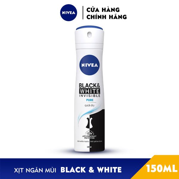 Xịt Ngăn Mùi NIVEA Black & White Ngăn Vệt Ố Vàng Vượt Trội 5in1 (150ml) - 82230