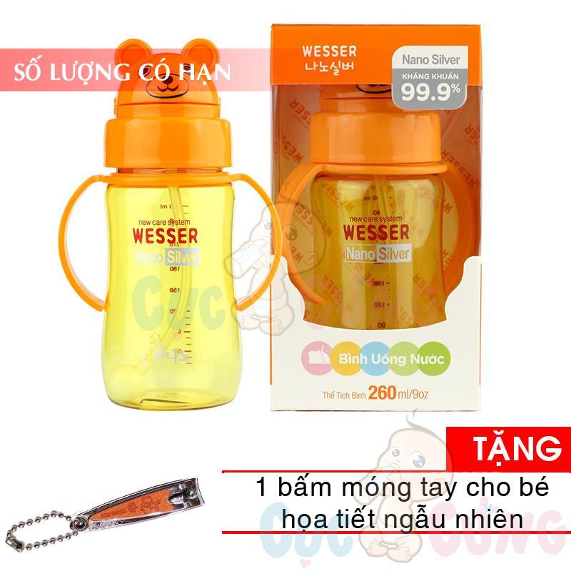 Bình đựng nước có ống hút cho bé uống nước Wesser 260ml Tặng 1 cắt móng tay họa tiết ngẫu nhiên - binh tap uong nuoc cho be