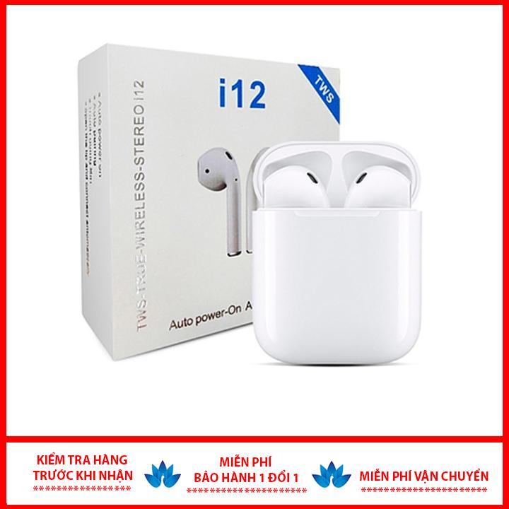 [HÀNG XỊN] Tai Nghe Bluetooth 5.0 i12 TWS [CẢM ỨNG VÂN TAY], tai nghe bluetooth không dây, tai nghe bluetooth dành cho IOS và Android