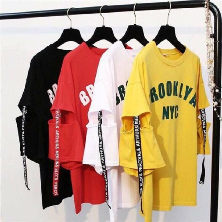 Áo phông freesize NYC rách tay Nhật Bản