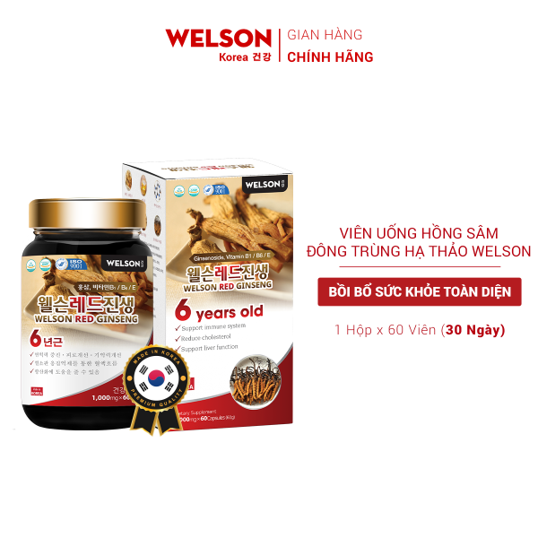 Viên Uống Hồng Sâm Bồi Bổ Sức Khỏe Welson Red Ginseng hộp 60 viên