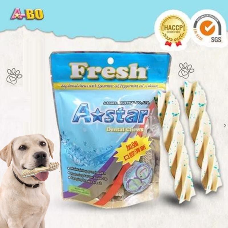 Xương gặm cho chó A-star 90g Hình xoắn trắng sữa, Xương sạch răng gặm cho chó cao cấp, giúp thơm miệng, ngừa viêm nướu