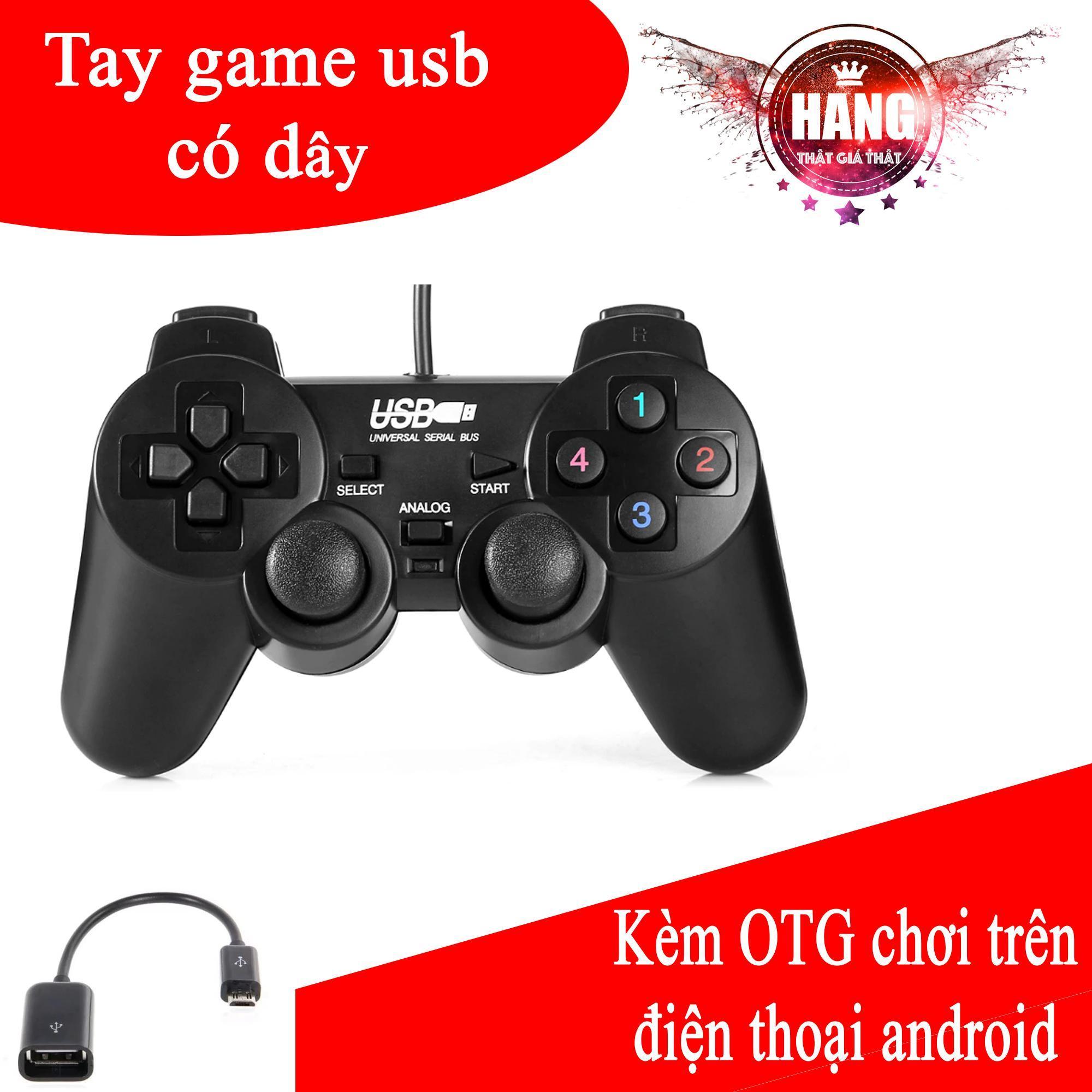 Siêu Tiết Kiệm Khi Mua Tay Cầm Chơi Game Có Rung Cho PC, Laptop Có 2 Joystick + OTG Android (Đen)