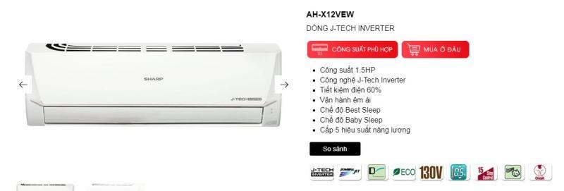 Bảng giá ĐIỀU HÒA SHARP 12000 BTU 1 CHIỀU INVESTER AH/AY-X12VEW (HÀNG THÁI LAN MỚI 100% - BH 1 CHÍNH HÃNG TQ)