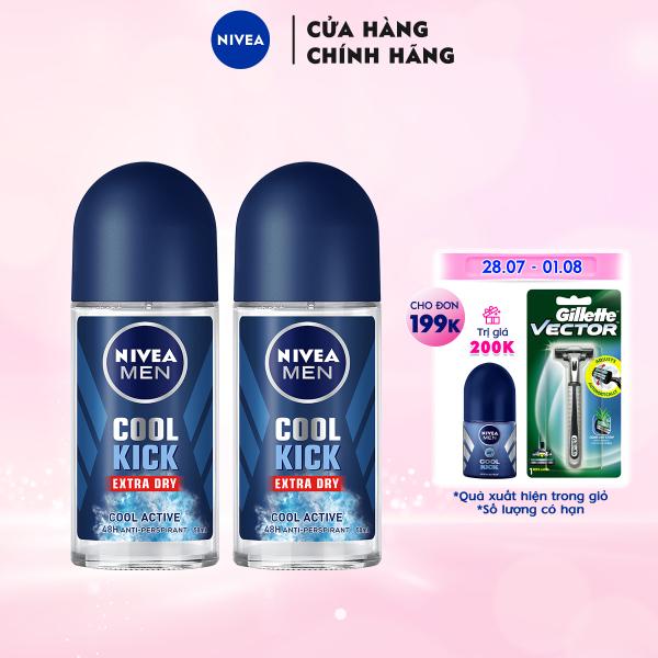 Combo 2 Lăn ngăn mùi NIVEA MEN Cool Kick Mát Lạnh - Thơm năng động (50ml) - 82886 giá rẻ