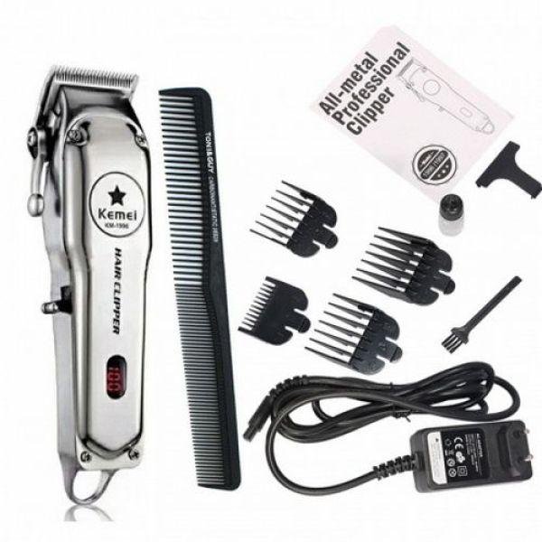 [HCM]Tông đơ cắt tóc chuyên nghiệp màn hình LCD Kemei KM - 1996 hợp kim nhôm lưỡi thép không gỉ pin trâu 3 giờ giá rẻ