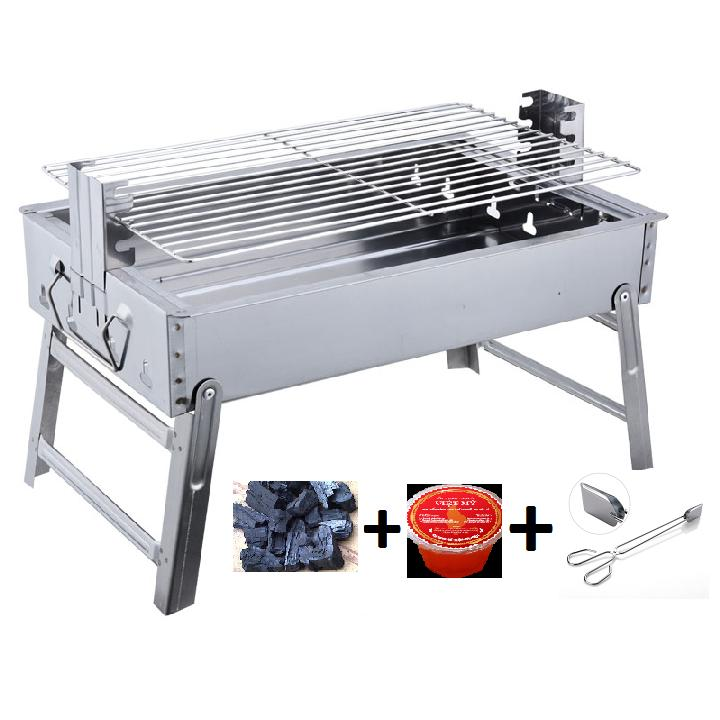 Bếp nướng than hoa cao cấp Mekongtech cỡ lớn thay đổi chiều cao vỉ + than, cồn, kẹp than gấp gọn tiện dụng không khói lò nướng ngoài trời ( hình chữ nhật)