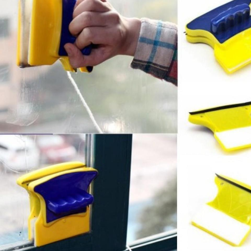 Dụng Cụ Lau Cửa Kính Double Sided Glass Cleaner -  Miếng Lau Kính Hai Mặt, Dụng Cụ Lau Kiếng, Dụng Cụ Lau Kính Cầm Tay, Dễ Dàng Lau Chùi Kính Cả Hai Mặt Một Cách Nhanh Chóng