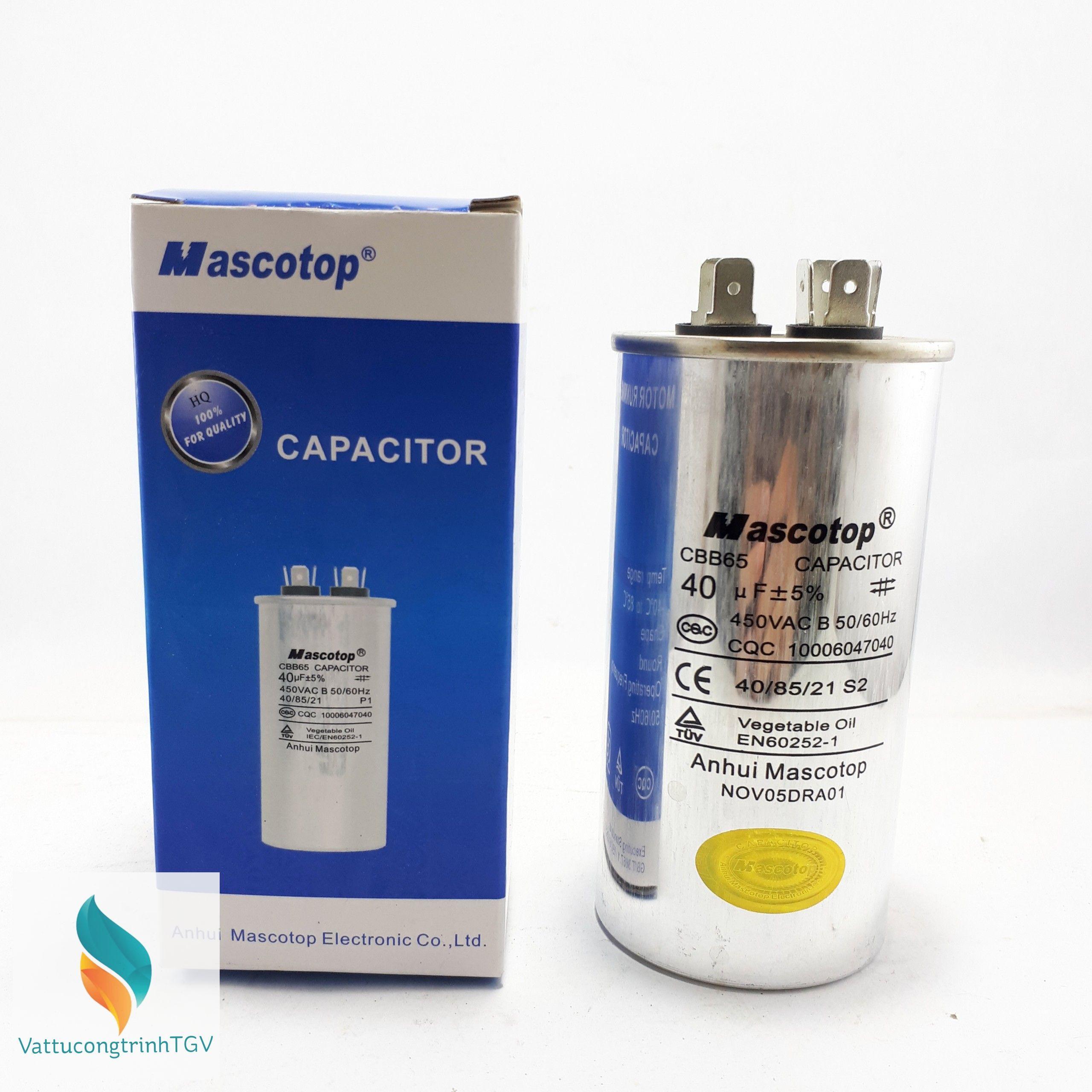 Tụ Mascotop CBB65 40mF+5% ( Dùng cho điều hòa)
