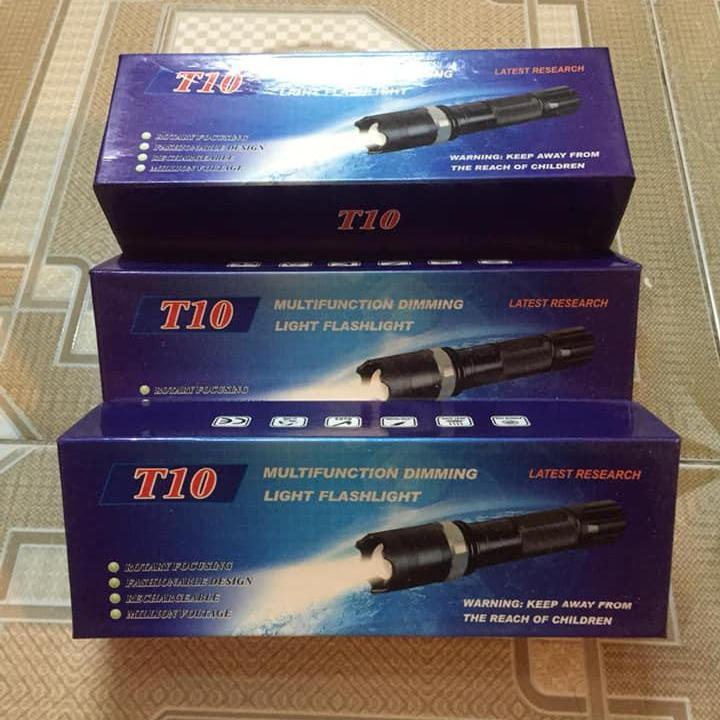 Đèn pin T10 siêu sáng 3 chế độ sáng tự ngắt bảo vệ pin