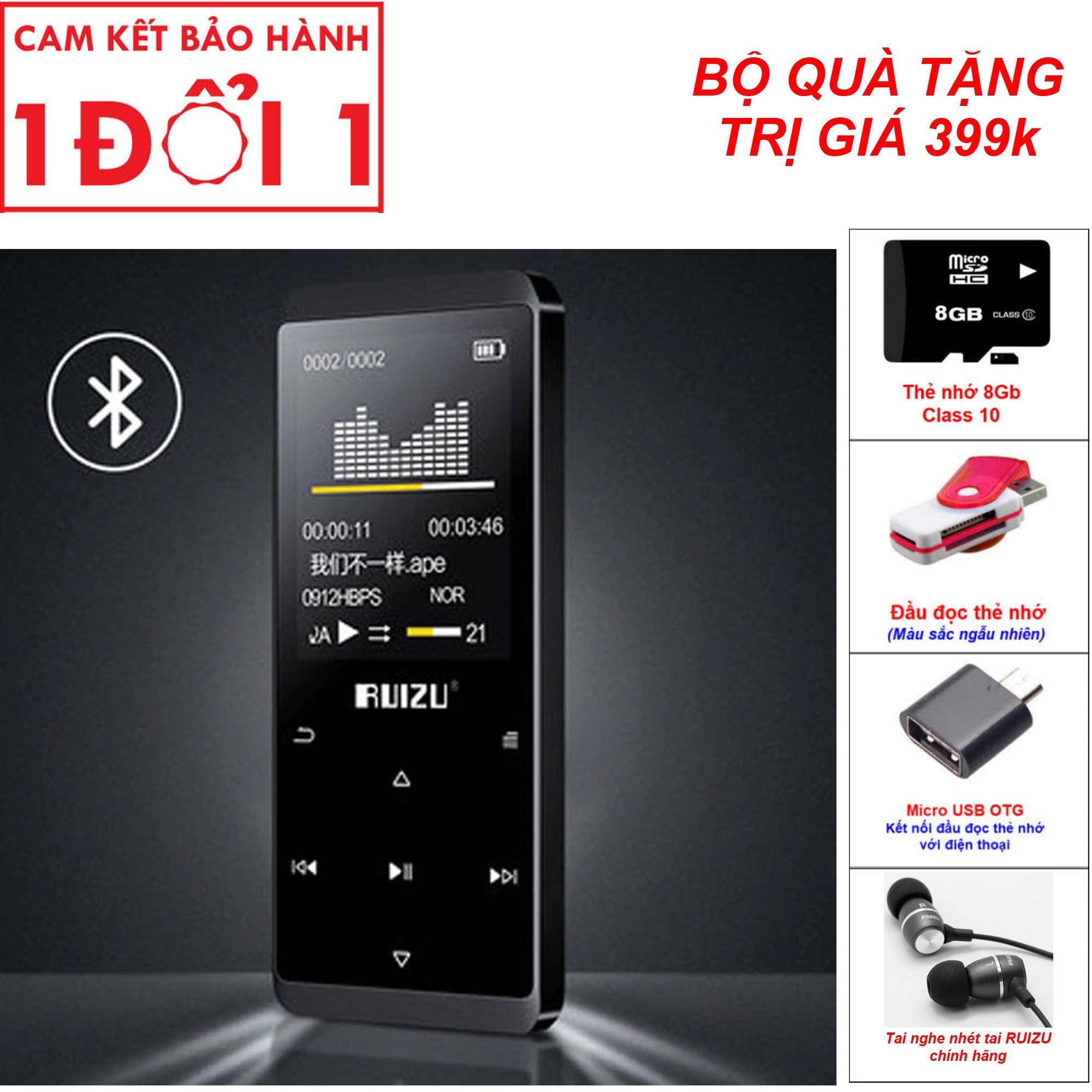 Quà Tặng Trị Giá 399K - Máy nghe nhac BLUETOOTH, máy nghe nhạc MP3, Máy nghe nhạc Lossless Bluetooth Ruizu D02 - 8Gb cao cấp, Bộ nhớ trong 8Gb, có thể xem phim nghe nhạc, đọc truyện, hỗ trợ học ngoại ngữ với chức năng lặp A-B