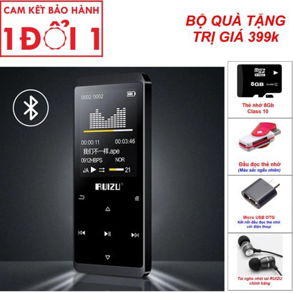 Quà Tặng Lên Đến 399K - Máy nghe nhac BLUETOOTH, máy nghe nhạc MP3, Máy nghe nhạc Lossless Bluetooth Ruizu D02 - 8Gb cao cấp, Bộ nhớ trong 8Gb, có thể xem phim nghe nhạc, đọc truyện, hỗ trợ học ngoại ngữ với chức năng lặp A-B