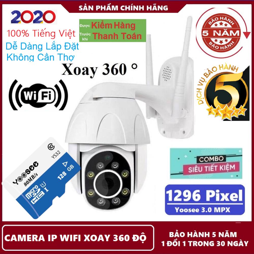 Bảo hành 5 năm-Tùy chọn kèm thẻ nhớ 128gb Yoosee,Camera ip wifi yoosee PTZ  xoay 360 độ,Camera cảnh báo chuyển động,đàm thoại song phương,lưu trữ video