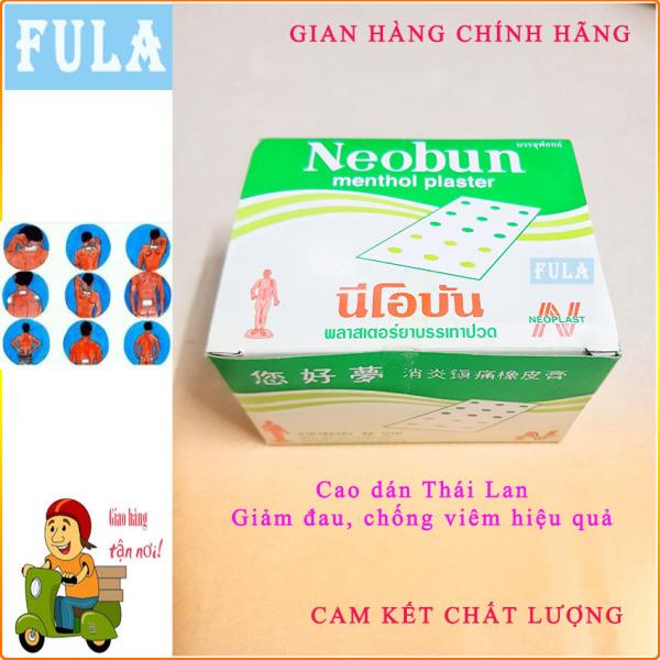 Hộp 20 gói cao dán giảm đau Neobun Thái Lan (gói 10 miếng, hàng nội địa tem vàng). Fula