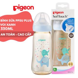 Bình sữa cổ rộng PPSU Plus Voi xanh Pigeon 330ml (L) thumbnail