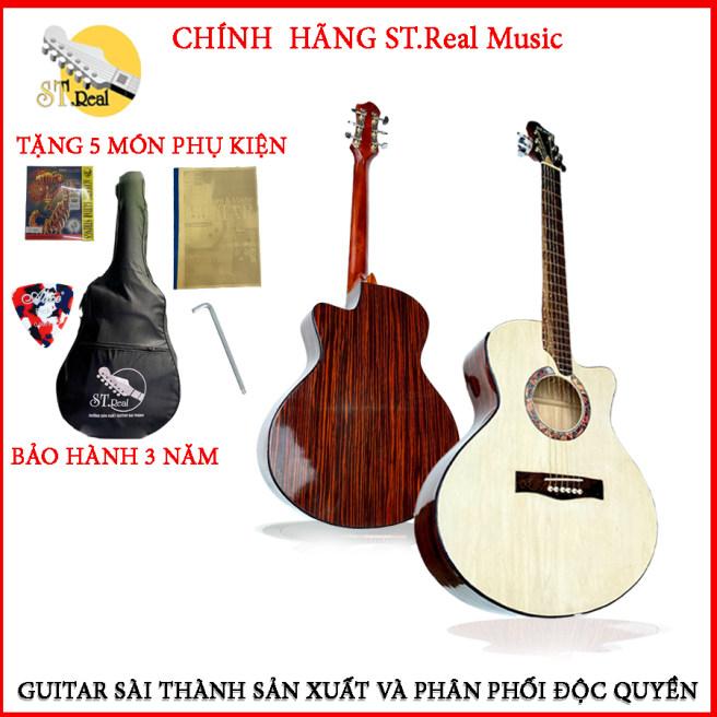 Đàn Guitar Acoustic ST.Real X1 chính hãng gỗ POLYWOOD EBONY (vân gỗ thật ). Có ty chỉnh cần 2 chiều- Tặng kèm Full phụ kiện.