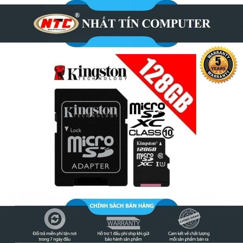 Thẻ nhớ microSDXC Kingston 128GB Class 10 U1 80MB/s kèm adapter (Đen)