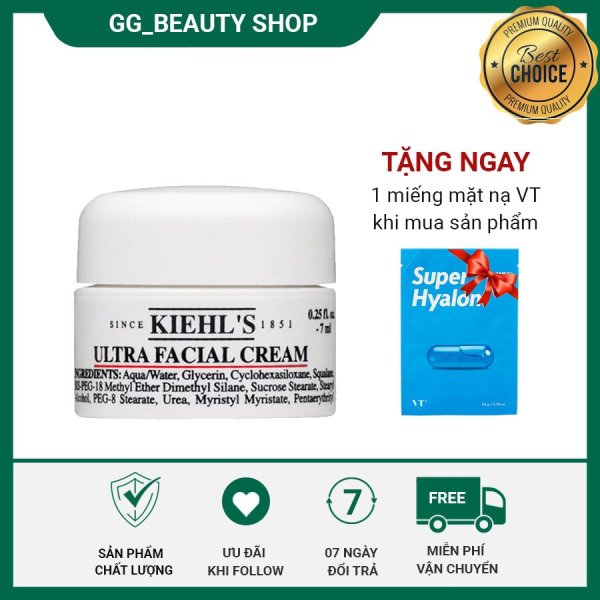 Kem dưỡng ẩm Kiehls Ultra Facial Cream 7ml cấp nước, dưỡng ẩm tức thì, duy trì độ ẩm suốt 24h, dưỡng da mềm mại, tràn đầy sức sống, bảo vệ da khỏi những tác động từ môi trường -  tặng mặt nạ VT Super Hyalon khi mua