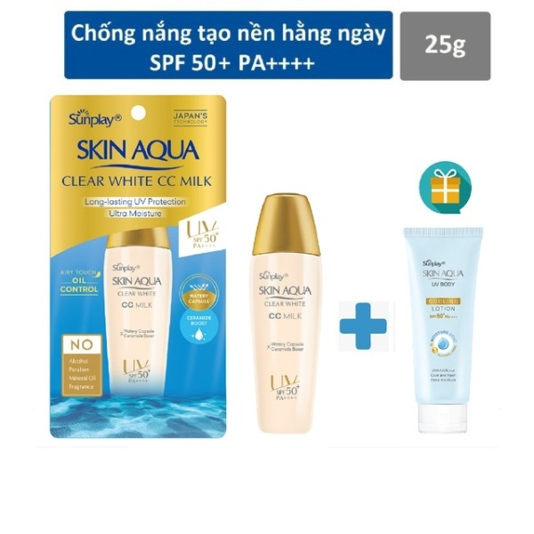( mẫu mới tặng sunplay 15g) Sữa Chống Nắng Sunplay Skin Aqua Clear White CC Milk SPF50+, PA++++ (25g) giá rẻ