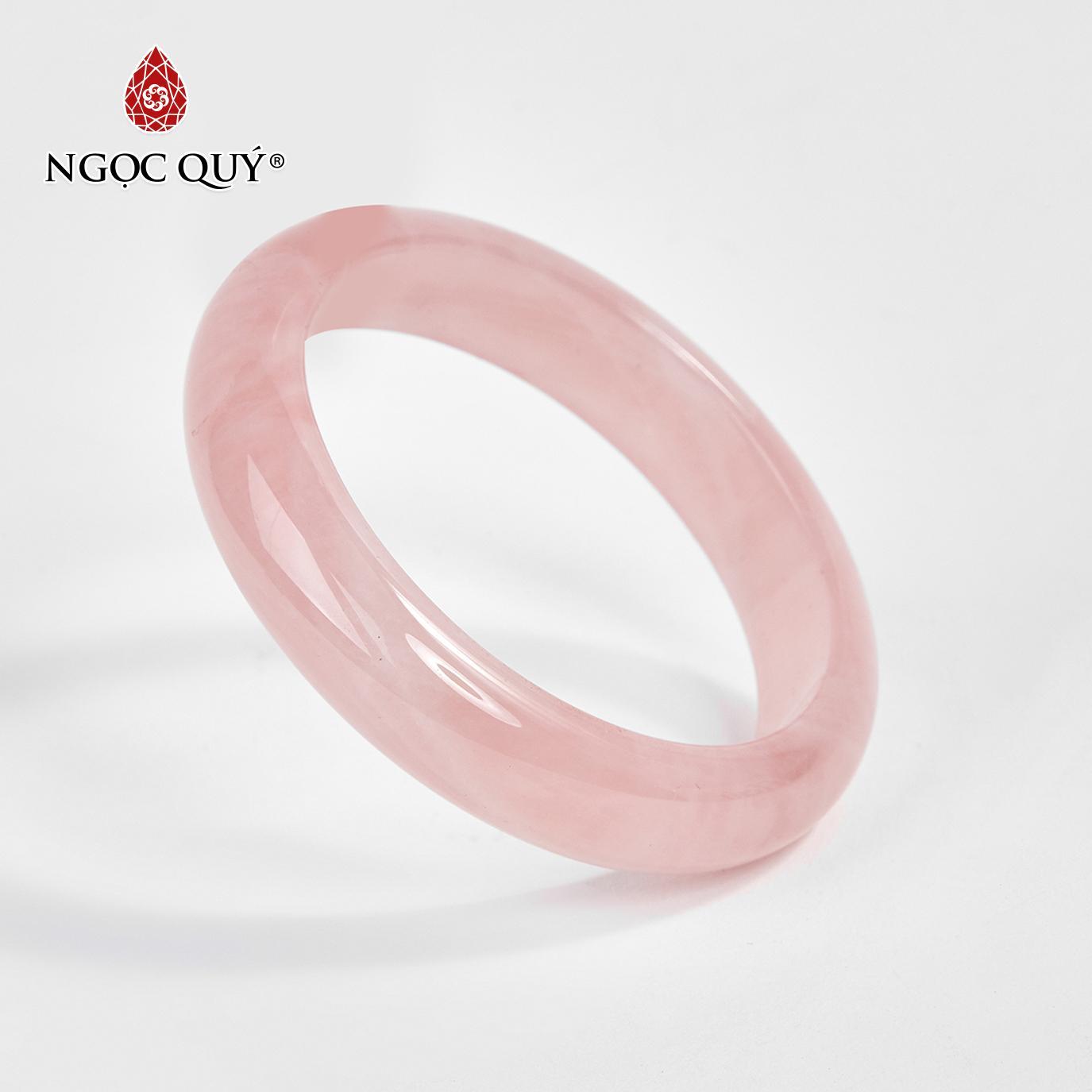 Vòng tay đá thạch anh hồng liền khối Ni 52 - 58 mệnh hỏa, thổ (màu hồng phấn) - Ngọc Quý Gemstones