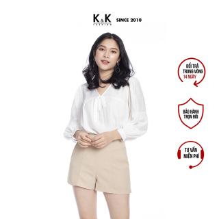 Quần Short Nữ Công Sở K&K Fashion QCS01-33 Màu Kem Chất Liệu Tuyết Mưa thumbnail