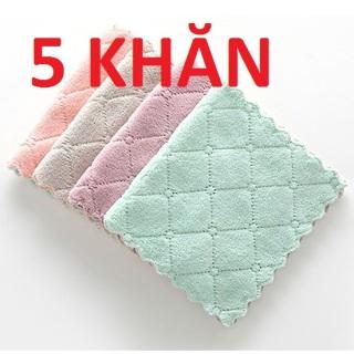 Bộ 5 khăn lau đa năng hai mặt , thấm hút cực tốt (KT 24cm 14cm) thumbnail