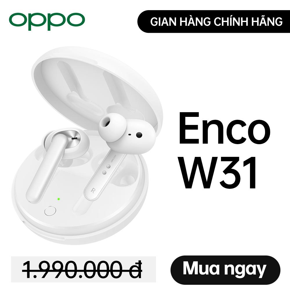 Tai nghe True Wireless OPPO Enco W31 l Bluetooth 5.0 l Phát nhạc 15h - Hội thoại 12h - Sạc 2,5h l Kết nối 10m l Chống bụi & nước IP54 l Siêu nhẹ 50g l HÀNG CHÍNH HÃNG