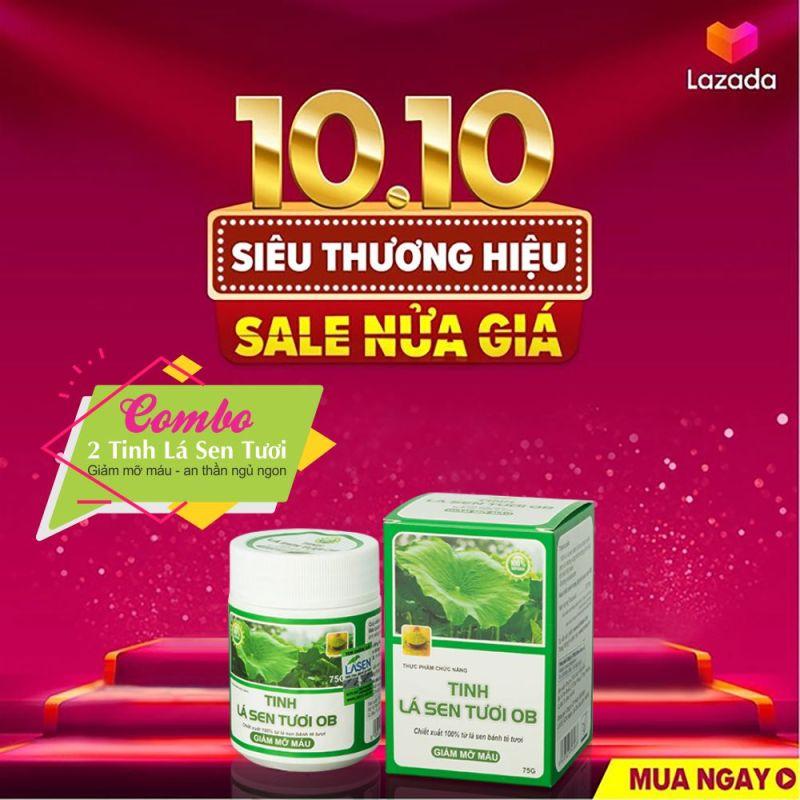 ( COMBO 2 Hộp ) TINH LÁ SEN TƯƠI OB - GIẢM MỠ MÁU, AN THẦN NGỦ NGON - Khánh Linh Pharma giá rẻ