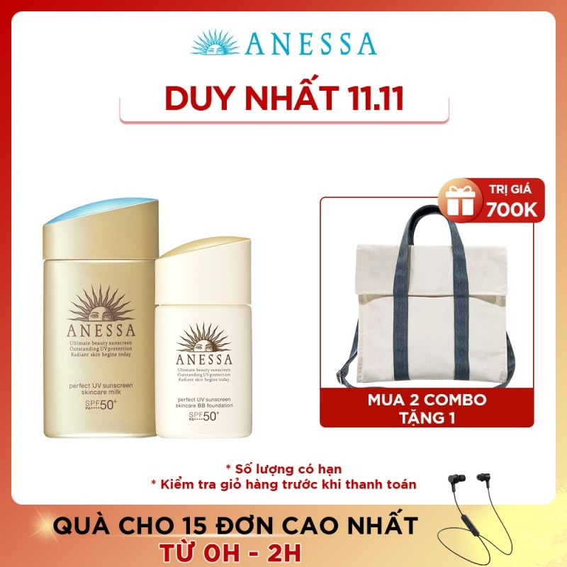 Bộ kem chống nắng Anessa dưỡng da bảo vệ hoàn hảo và kem nền tông BB Anessa Perfect UV Skincare Milk SPF 50+ PA++++ 60ml + BB Foundation SPF 50+ PA++++ nhập khẩu