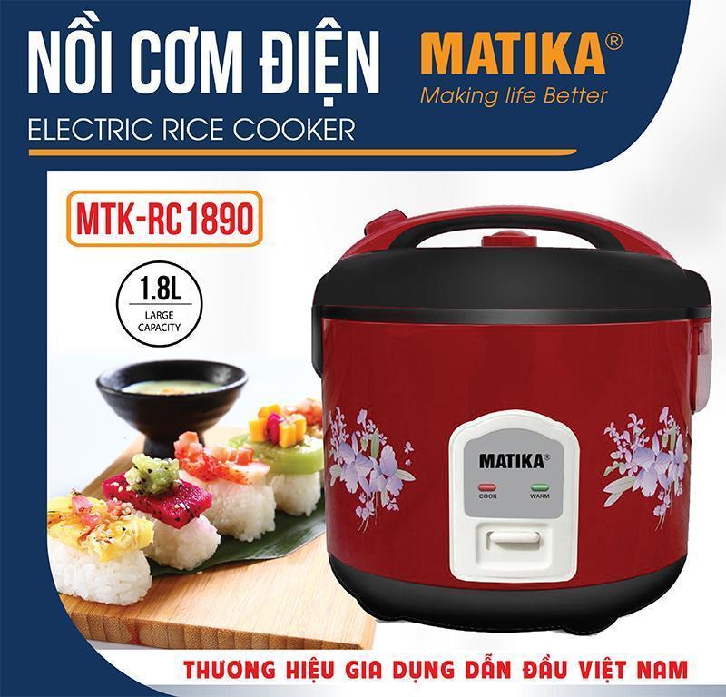 Nồi cơm điện MATIKA1,8L 700W nắp gài màu đỏ MTK- RC 1890