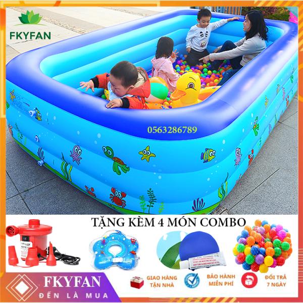 [Tặng Bơm ĐIỆN] Bể bơi cho bé trong nhà 3 tầng 2m1 và 1m8 bể bơi trẻ em , bể bơi người lớn hình chữ nhật 210x150x60 bồn tắm hơi cho bé , bồn tắm trẻ em bơm hơi , bể phao bơi gia đìng