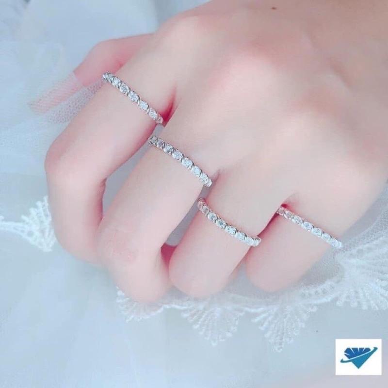 Nhẫn nữ đính đá nhẫn bạc xoắn xinh xắn- JQN gian hàng chính hãng cam kết bạc chuẩn, chất lượng không lo đen xỉn
