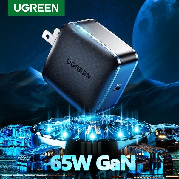 UGREEN 65W GaN Charger 65W USB Type C PD Charger Power Delivery Fast Charger for iPhone 12, iPad Pro 2020, MacBook Air, SAMSUNG S20+/Huawei/Oneplus/Surface Pro 7/Dell/ASUS/Lenovo ThinkPad Laptops
