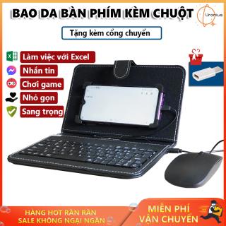 Bàn phím cho điện thoại, Bao da bàn phím, Bao da bàn phím điện thoại kèm thêm chuột nhỏ gọn tiện dụng, hiện đại với công nghệ OTG. GIÁ ƯU ĐÃI HẤP DẪN + TẶNG KÈM CỔNG CHUYỂN thumbnail