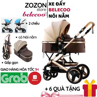Xe đẩy cho bé Belecoo nôi gấp gọn 2 chiều có mái che 3 tư thế cho bé từ sơ sinh-4 tuổi chịu lực 25kg xe đẩy du lịch baby trolley, xe đẩy em bé, xe đẩy bé sơ sinh, xe đẩy bé ăn dặm, Zozon phân phối chính hãng thumbnail