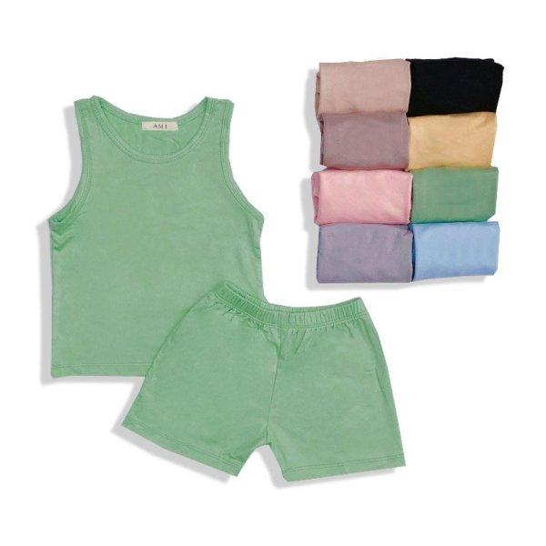 Bộ quần áo trẻ em sát nách Cotton thun lạnh cho bé sơ sinh tới 17kg QATE512